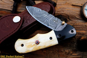 "DKC-49 PANDA Damascus Folding Pocket Knife 4.5"" Folded 8"" Long 6.3oz High Class Looks Incredible Feels Great In Your Hand And Pocket Hand Made DKC Knives ™"
