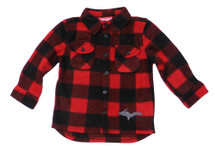 U.P. Red Black Plaid Long Sleeve Button Down (Youth)