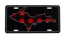 Red/Black Plaid U.P. License Plate