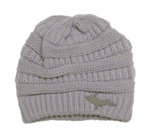 HARPER: Gray Knit Hat U.P. Leather Patch
