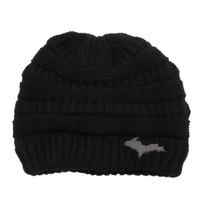 HARPER: Black Knit Hat U.P. Leather Patch