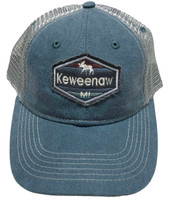 SCOUT: Keweenaw MI Ball Cap - Pacific Blue/Light Grey