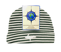 Newborn UP Hat - Green & White Striped