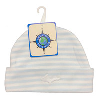 Newborn UP Hat - Baby Blue & White Striped