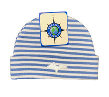 Newborn UP Hat - Blue & White Striped
