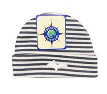 Newborn UP Hat - Grey & White Striped