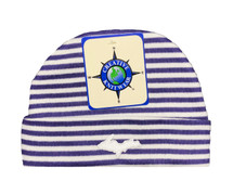 Newborn UP Hat - Purple & White Striped
