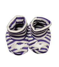 Newborn UP Booties - Purple & White Striped