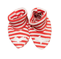 Newborn UP Booties - Red & White Striped