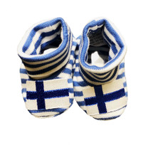 Newborn Finnish Flag Booties - Blue & White Striped