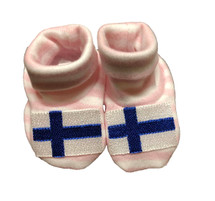 Newborn Finnish Flag Booties - Pink & White Striped
