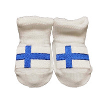 Newborn Finnish Flag Booties - White