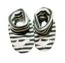 Newborn UP Booties - Green & White Striped