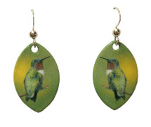 Ruby-Throated Hummingbird Earrings
