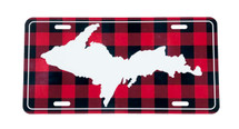 Red/Black Plaid Inverse UP Map License Plate