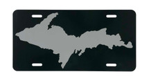 Dark Green and Grey UP Map License Plate