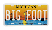 Big Foot Mackinac Bridge License Plate