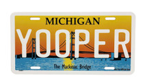 Yooper Mackinac Bridge License Plate
