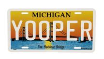 Yooper Mackinac Bridge License Plate