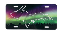 UP Map Cutout Treeline Northern Lights License Plate