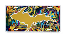 UP Map Yellow Tie Die License Plate