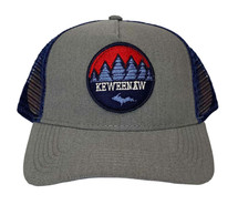 Heather/Navy Mesh Keweenaw Pines Hat