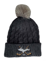 Charcoal Grey U.P. Cross Hockey Sticks Pom Winter Hat