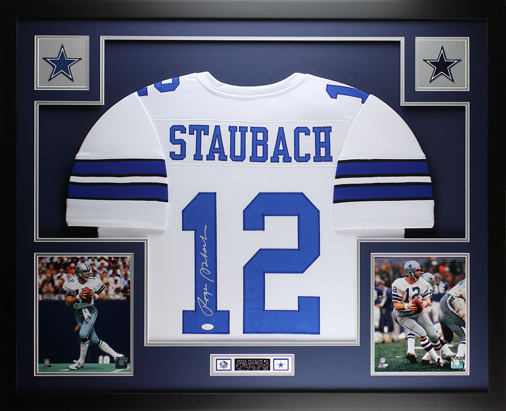 1b20c8afa Roger Staubach Autographed and Framed White Cowboys Jersey Auto JSA COA.  Loading zoom