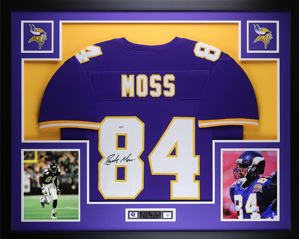 pretty nice 97d7e f12d5 Randy Moss Autographed and Framed Purple Vikings Pro Style ...