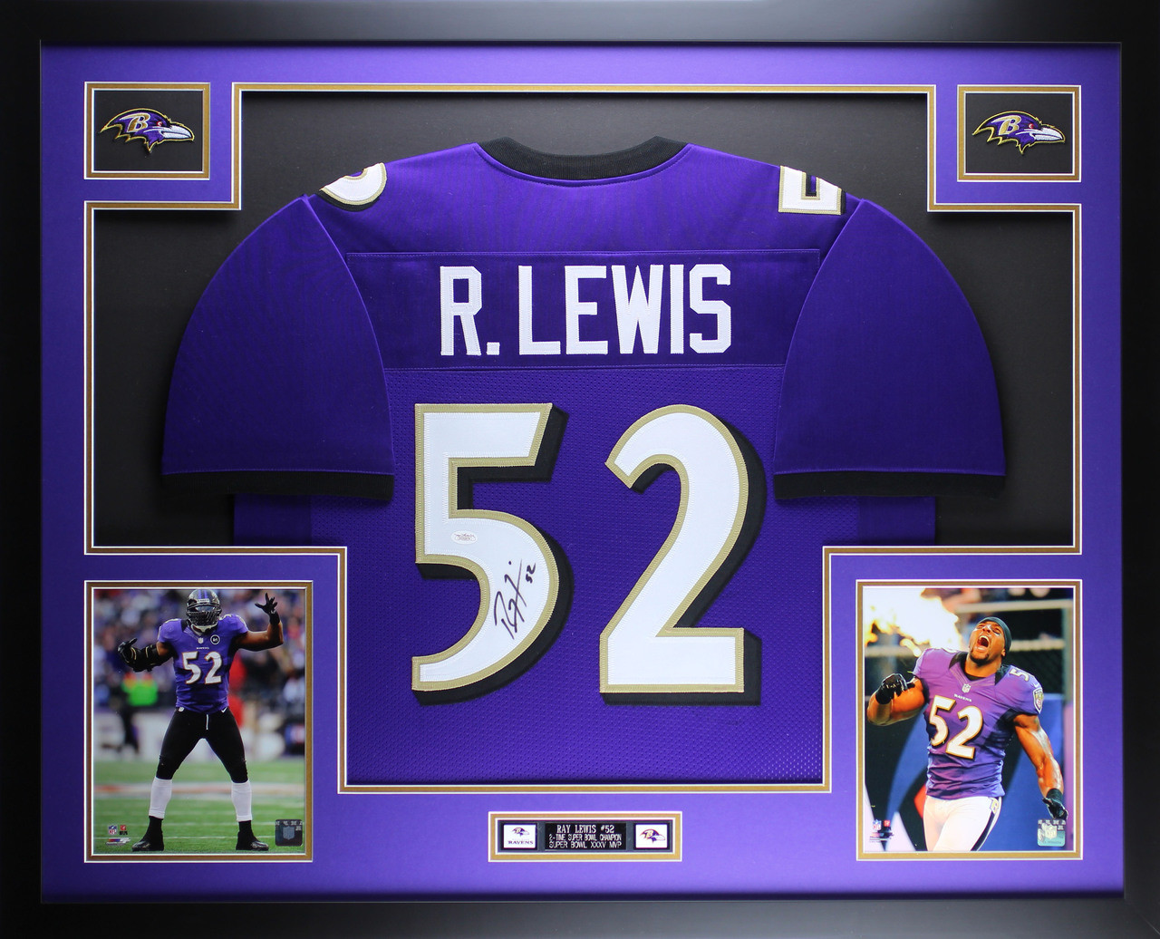 Ray Lewis Autographed and Framed Purple Ravens Jersey