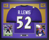 Ray Lewis Autographed and Framed Purple Baltimore Ravens Jersey Auto JSA COA