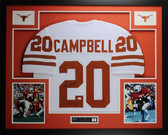 Earl Campbell Autographed HT 77 and Framed White Texas Longhorns Jersey JSA COA