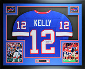 Jim Kelly Autographed & Framed Blue Buffalo Bills Jersey Auto JSA Certified