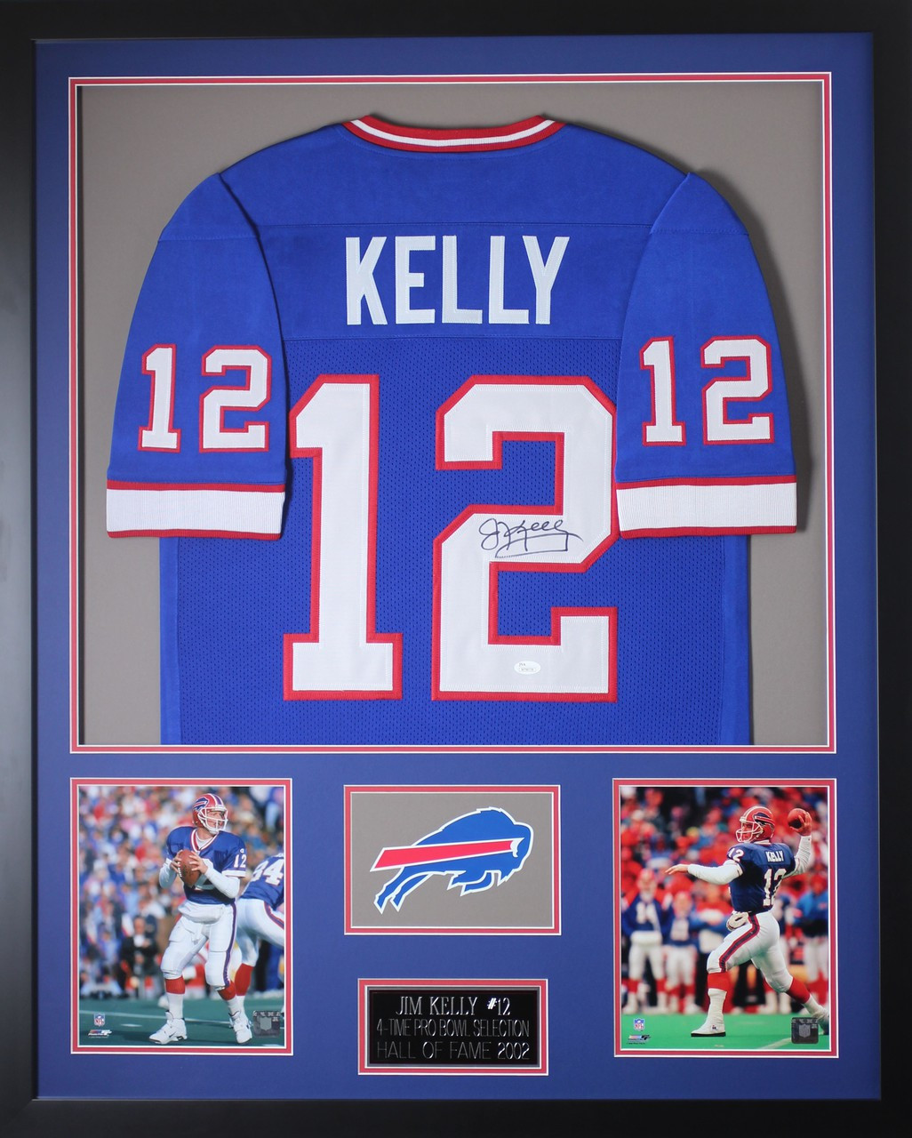 save off 66194 bea64 Jim Kelly Autographed and Framed Blue Bills Jersey