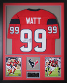 JJ Watt Autographed & Framed Red Houston Texans Jersey Autograph JSA Certification