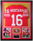Joe Montana Autographed and Framed Red San Francisco 49ers Jersey Auto JSA COA