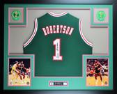 Oscar Robertson Autographed and Framed Green Milwaukee Bucks Jersey Auto JSA COA