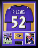 Ray Lewis Autographed & Framed Purple Baltimore Ravens Jersey Auto JSA COA