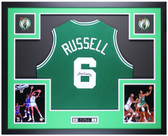 Bill Russell Autographed and Framed Green Boston Celtics Jersey Auto JSA Certified