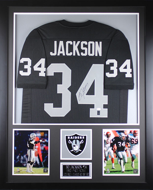 detailed look 4d01b fb028 Bo Jackson Autographed and Framed Black Raiders Jersey