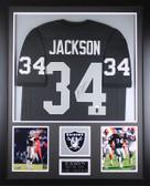 Bo Jackson Autographed & Framed Black Raiders Jersey Auto JSA Certification