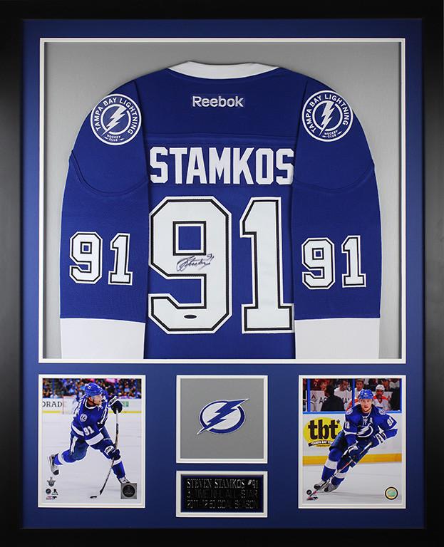 wholesale dealer 7a205 d9e2e Steven Stamkos Autographed and Framed Blue Lightning Jersey