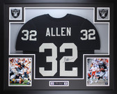 Marcus Allen Autographed & Framed Black Raiders Jersey Auto JSA Certified