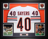 Gale Sayers Autographed and Framed White Chicago Bears Jersey Auto JSA Cert