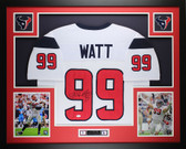 JJ Watt Framed & Autographed White Houston Texans Jersey Auto JSA COA