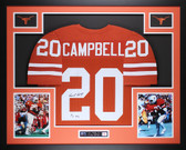 Earl Campbell Autographed HT 77 and Framed Orange Texas Longhorns Jersey JSA COA