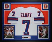 John Elway Autographed and Framed White Denver Broncos Jersey Auto JSA Certified