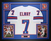 John Elway Autographed & Framed White Denver Broncos Jersey Auto JSA Certified