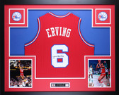 Julius Dr. J  Erving Autographed and Framed Red Philadelphia 76ers Jersey JSA Certified