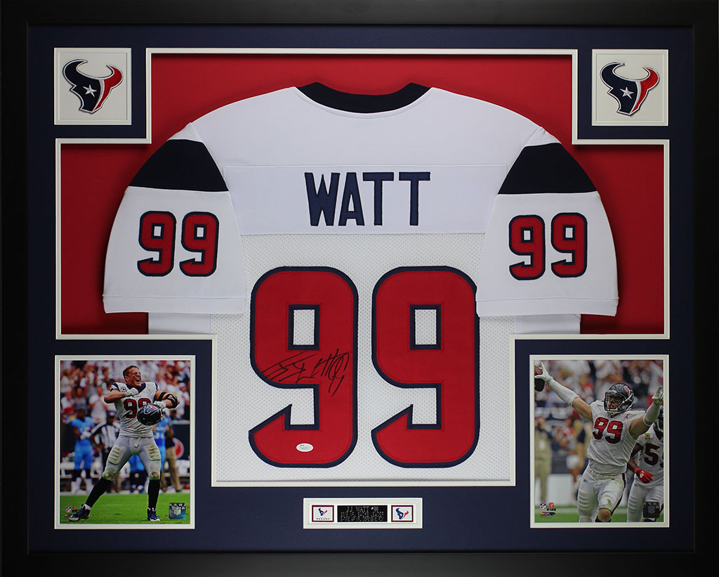 half off 176b0 a5296 JJ Watt Autographed and Framed White Texans Jersey
